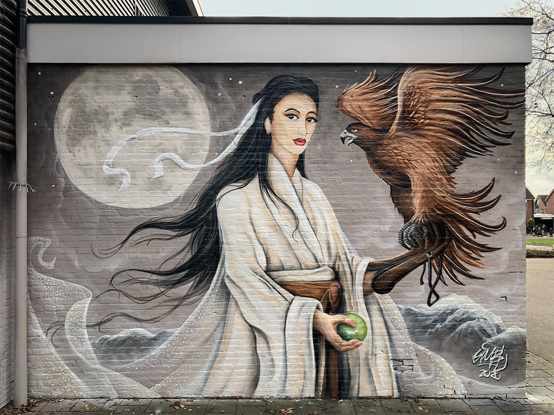 simbl, geisha, japan, japanese, asia, eagle, street-art, graffiti,
